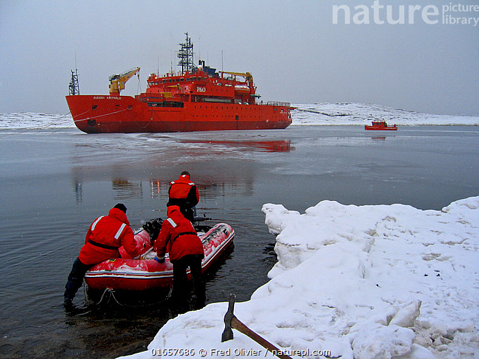 Aurora Australis Resupply vessel, Mawson Harbour, Antarctica March 2005  ,  Research,Researching,Antarctica,Antarctic,Polar,Boat,Motorboats,Powerboats,Ship,Ships,Science,Motorboat,Rib,  ,  Fred Olivier