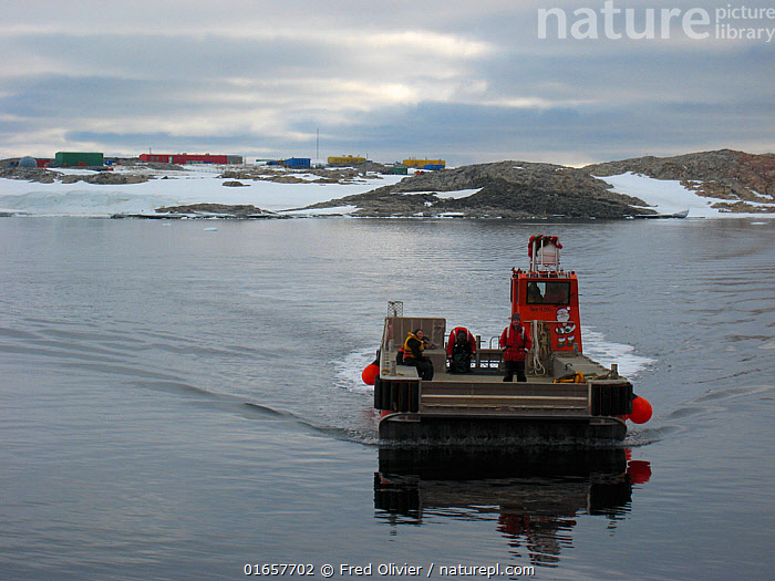 Jet barge used to transport the cargo to Casey station form the resupply ship, Antarctica. December 2010  ,  Research,Researching,Antarctica,Antarctic,Polar,Building,Boat,Barge,Barges,Science,Coast,Coastal,  ,  Fred Olivier