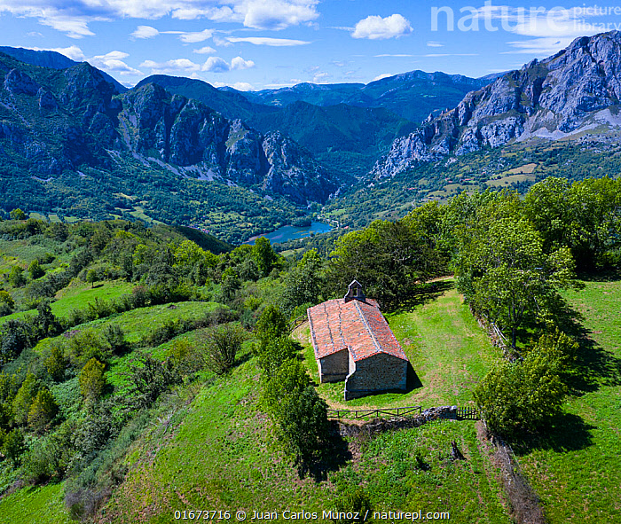 Aerial view of Chapel of Santa María surrounded by European yew (Taxus baccata) and mountains in distance, Las Ubinas-La Mesa Natural Park. Asturias. Spain. August 2020.  ,  Europe,Southern Europe,Spain,Aerial View,High Angle View,Building,Church,Churches,Mountain,Landscape,Beautiful,Countryside,Reserve,Protected area,Elevated view,Natural Park,Drone,Drone shot,  ,  Juan Carlos Munoz