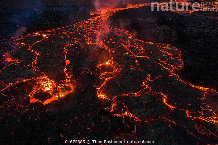 Aerial image of the lava field at the Fagradalsfjall volcano, Iceland, 31 March 2021.  ,  Erupting,Colour,Orange,Luminosity,Pattern,Europe,Northern Europe,North Europe,Nordic Countries,Scandinavia,Iceland,Volcano,Lava,Geology,Volcanic features,Lava flow,  ,  Theo  Bosboom