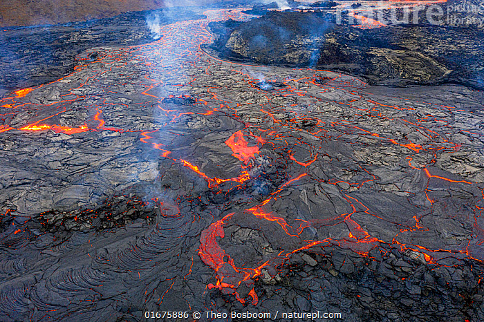 Aerial view of one of the main lava flows at the eruption site of the Fagradalsfjall volcano, Iceland, 1 April 2021  ,  Erupting,Colour,Orange,Luminosity,Pattern,Europe,Northern Europe,North Europe,Nordic Countries,Scandinavia,Iceland,Volcano,Lava,Geology,Volcanic features,Lava flow,  ,  Theo  Bosboom