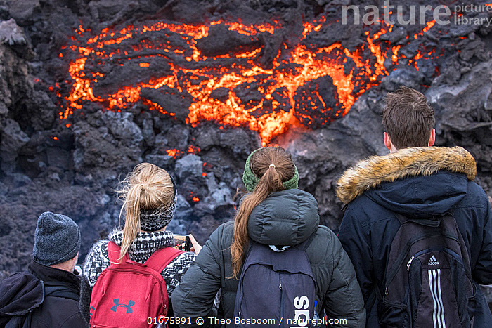 Icelandic people watching and photographing lava at the eruption site, Fagradalsfjall volcano, Iceland, 2 April 2021.  The volcano has drawn an estimated number of 30.000 visitors since the start of the eruption at March 19. That equals almost 10% of the total population of Iceland.  ,  Erupting,People,Group,Large Group,Europe,Northern Europe,North Europe,Nordic Countries,Scandinavia,Iceland,Volcano,Lava,Travel,Tourism,Geology,Volcanic features,Disease,Lava flow,Virus,Coronavirus,Covid-19,SARS-CoV-2,Covid19,  ,  Theo  Bosboom