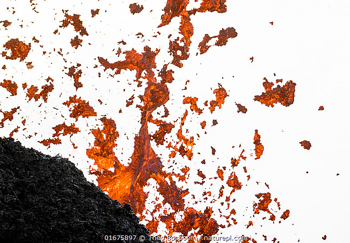 Lava flying through the air from one of the craters, Fagradalsfjall volcano, Iceland. 4 April 2021.  ,  Erupting,Colour,Orange,Europe,Northern Europe,North Europe,Nordic Countries,Scandinavia,Iceland,Volcano,Lava,Geology,Volcanic features,  ,  Theo  Bosboom