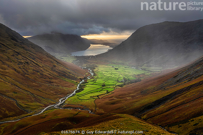 Rain storm over Wasdale Head and Wast Water from Great Gable, Lake District National Park, Cumbria, England, UK. December 2020  ,  Europe,Western Europe,UK,Great Britain,England,Cumbria,Hill,Mountain,Weather,Raining,Rain,Landscape,Reserve,Lake district,Protected area,National Park,Rainstorm,  ,  Guy Edwardes