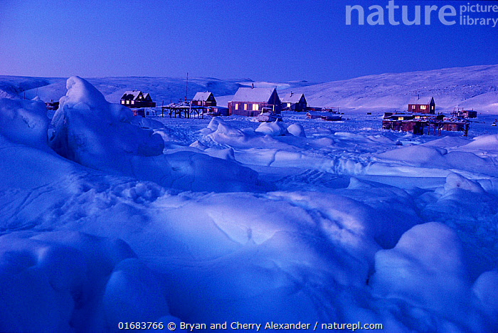 The Polar Inuit village of Moriussaq during polar night, Northwest Greenland.  ,  People,Inuit,Eskimo,Eskimoes,Eskimos,Innuits,Inuits,Traditional,Colour,Blue,Arctic,Polar,Settlement,Village,Building,Residential Structure,House,Houses,Ice,Snow,Landscape,Night,Culture,Indigenous Culture,Bookplate,Tribes,Arctic people,Kalaallit Nunaat,Polar night,  ,  Bryan and Cherry Alexander