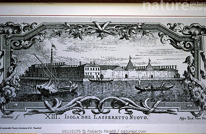 Antique ink print of Lazzaretto Nuovo and its monastery. Lazzaretto Nuovo is an island in the Venetian lagoon in the beginning of Sant'Erasmo channel.  ,  ART,black and white,BUILDINGS,CANALS,channels,EUROPE,ILLUSTRATIONS,ISLANDS,lagoons,monastery,venetian,venice  ,  Roberto Rinaldi