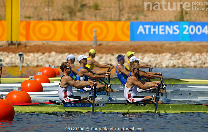 Men's Double Sculls Heat, Olympic Games, Athens, Greece, 14 August 2004.  Editorial Use Only.  ,  BOATS,COMPETITIONS,EUROPE,FLEETS,GREECE,MEN,Olympics,RACING,ROWING-BOATS,SCULLS,STARTS, OPEN-BOATS  , OPEN-BOATS  ,PEOPLE  ,  Barry Bland