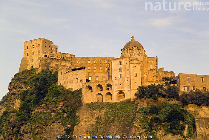 Castello Aragonese (Aragon Castle) just off the seaside town of Ischia Ponte, Ischia, Bay of Naples, Italy.  ,  ARCHITECTURE,BUILDINGS,CASTLES,CLIFFS,EUROPE,HISTORICAL,ITALY,MEDITERRANEAN,TRADITIONAL,Geology  ,  Angelo Giampiccolo