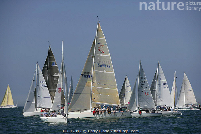 """Yachts competing in the JPMorgan Round the Island Race, Isle of Wight, England, UK. 18th June 2005. ^^^Super-maxi """"Maximus"""" took line honours finishing the 50 mile course in 7 hours, whilst the Gold Roman Bowl went to """"Purple Haze"""", a 25-foot quarter tonner.  ,  BOATS,CREWS,ENGLAND,EUROPE,FLEETS,FORESAILS,MAINSAILS,RACING,SAILING-BOATS,UK,YACHTS, United Kingdom, United Kingdom  ,  Barry Bland"""