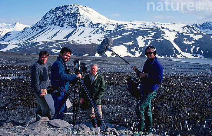 Film  crew film on location in South Georgia for BBC television series Life in the Freezer ,1992. Alastair Fothergill producer (left) and presenter Sir David Attenborough, FILMING,SOUTH GEORGIA,FILM CREW,PEOPLE,FILMING IN WILD, Ben Osborne