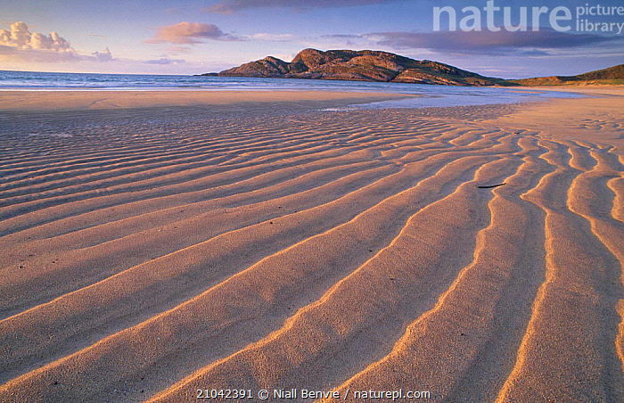 Sand patterns on the beach Coll Inner Hebrides Scotland U, COASTS,RIPPLES,LANDSCAPES,BEACHES,EUROPE,Catalogue1, Niall Benvie