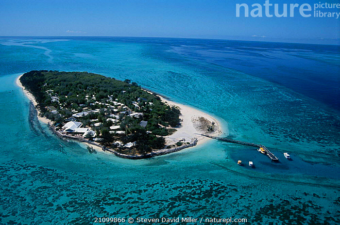 Aerial view of Heron Island Great Barrier Reef Queensland Australia Capricorn-Bunker, CORAL REEFS,SECTION,TROPICAL,TRAVEL,LANDSCAPES,MARINE ,AERIALS,AUSTRALIA, Steven David Miller