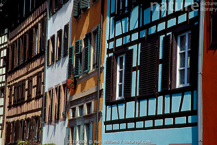 Windows of houses in the old city (Petite France) Strasbourg France, BUILDINGS,LANDSCAPES,BUILDING,CITIES,LANDSCAPES,PETITE,Europe, Rod Williams