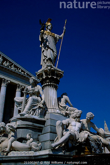 Pallas Athene fountain outside the Parliament Building Vienna Austria, LANDSCAPES,BUILDINGS,FOUNTAINS,STATUE,CITIES,STATUES,Europe, Rod Williams