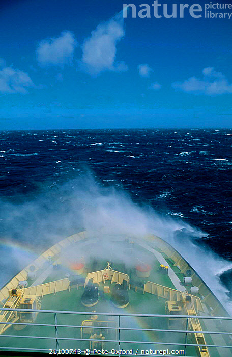 Waves breaking over bow in rough seas Southern Indian Ocean (Russian ice breaker ship), INDIAN OCEAN,RAINBOW,KAPITAN,RUSSIAN,DURING,SEASCAPES,KHLVENIKOV,SHIP,LANDSCAPES,DECK,ICE BREAKER,BOATS,SPRAY,MARINE,Catalogue1, Pete Oxford