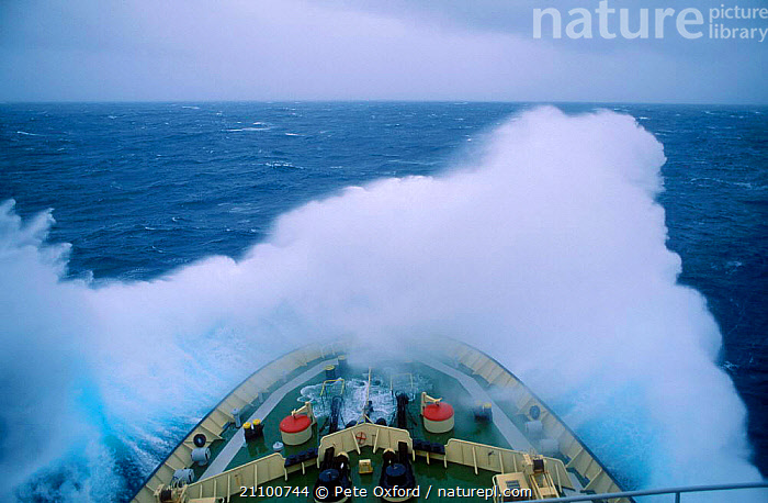 Waves breaking over bow in rough seas Southern Indian Ocean (Russian ice breaker ship), BOATS,RUSSIAN,SPRAY,RUSSIA,KHLVENIKOV,INDIAN OCEAN,LANDSCAPES,ICE BREAKER,STORMS,KAPITAN,DURING,RAINBOW,STORMY,MARINE,WEATHER,CIS, Pete Oxford