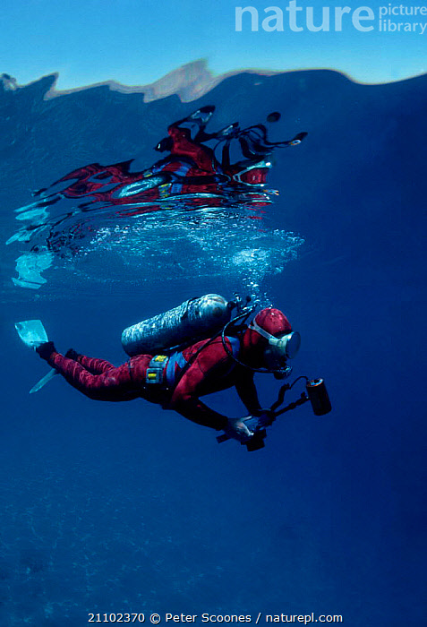 Diver with underwater camera Tropics, EUROPE,TROPICAL,PEOPLE,PHOTOGRAPHY, PETER SCOONES
