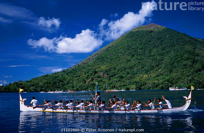Kora-Kora annual race of traditional war canoes Banda Moluccas Indonesia, ASIA,BOATS,SOUTH EAST ASIA,LANDSCAPES,CEREMONY,PEOPLE,ISLAND,SOUTH-EAST-ASIA, PETER SCOONES