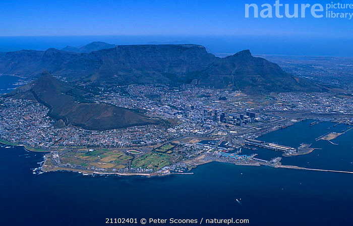 Aerial view of Cape Town and Table mountain South Africa, COASTS,CITIES,MOUNTAINS,HARBOUR,LANDSCAPES ,AERIALS, PETER SCOONES