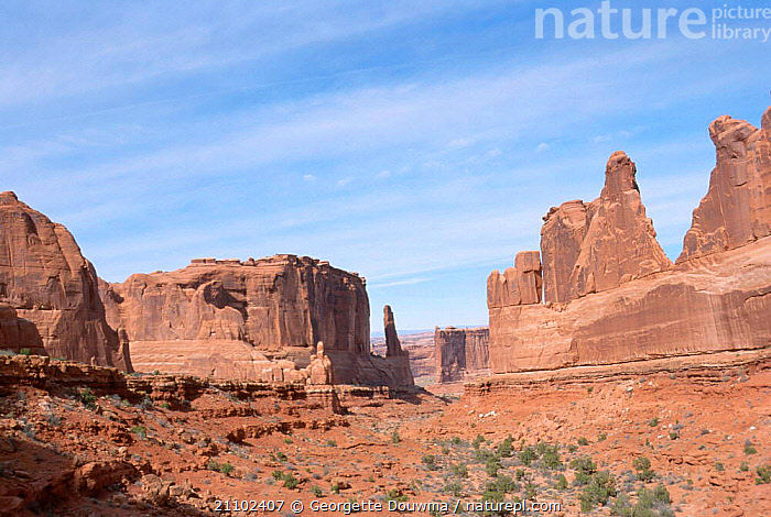 Park avenue created by sandstone erosion Arches NP Utah USA, ROCK FORMATIONS,LANDSCAPES,RESERVE,DESERTS,ROCK,NORTH AMERICA,GEOLOGY,USA, Georgette Douwma