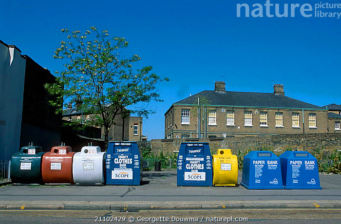 Community recycling collection units. London UK, ENGLAND,ROADS,BUILDINGS,CITIES,EUROPE,REFUSE,UNITS,STREET,ENVIRONMENTAL, Georgette Douwma