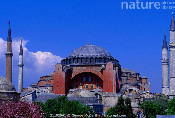 Ayasoya mosque (Red mosque) Istanbul Turkey, RELIGIOUS,DOME,LANDSCAPES,RED,BUILDINGS,TOWERS,CITIES,MIDDLE-EAST, George McCarthy
