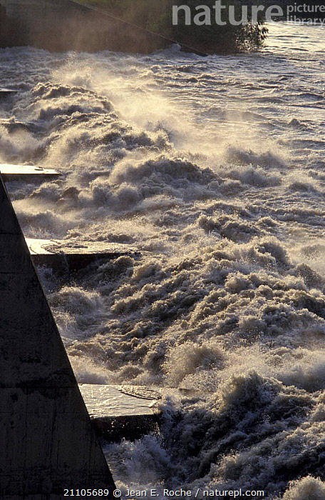 Water released from dam across Rhone river Villabregues Provence France, LANDSCAPES,ENERGY,TURBULENCE,RIVERS,RENEWABLE,Europe, Jean E. Roche