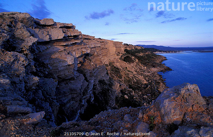 Leuate cliffs Roussillon Languedoc France, MEDITERRANEAN,ROCK FORMATIONS,COASTS,LANDSCAPES,GEOLOGY,Europe, Jean E. Roche