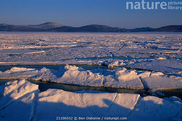 Sea ice in early spring Talan island Sea of Okhotsk East Russia, BLUE PLANET,PACK,LANDSCAPES,MELTING,CIS, Ben Osborne