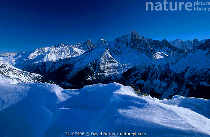 Mountain landscape with snow Aiguille Verte from Le Brevent Alps France  ,  LANDSCAPES,MOUNTAINS,Europe  ,  David Noton