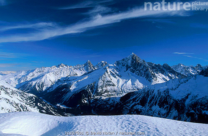 Mountain landscape with snow Aiguille Verte from Le Brevent Alps France  ,  MOUNTAINS,LANDSCAPES,Europe  ,  David Noton