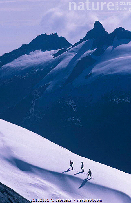 Climbers in snow on slopes of Margherita peak Mountains of the Moon Virunga NP Dem Rep of  ,  LANDSCAPES,PEOPLE,AFRICA,HIKERS,ZAIRE,LEISURE,CLIMBING , Bruce Davidson  ,  Jabruson