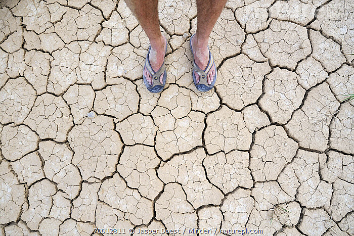 Feet on dry earth, Bardenas Reales, Navarre, Spain  ,  Bardenas Reales, Color Image, Cracked, Cracked Mud, Day, Drought, Dry, Earth, Foot, Front View, High Angle View, Horizontal, Navarre, One Person, Outdoors, Photography, Spain,Spain  ,  Jasper Doest