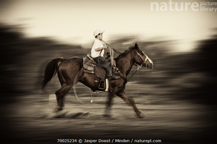 Young cowboy practicing roping, Hebbronville, Texas  ,  Abstract, Adult, Black And White, Blurred Motion, Boy, Cowboy, Day, Domestic Animal, Full Length, Galloping, Hebbronville, Horizontal, Horseback Rider, Male, One Animal, One Person, Outdoors, Photography, Riding, Roping, Side View,Texas  ,  Jasper Doest
