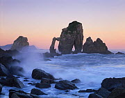 Rock arches in the sea,  Gaztelugatxe, Basque country, Bay of Biscay, Spain, October 2008. - Wild Wonders of Europe / Popp-Ha
