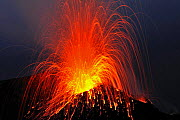 Eruption on Stromboli Volcano, Aeolian Islands, Italy, May 2009 - Wild Wonders of Europe / Grunewald
