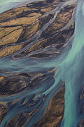 Aerial view of the Skjalfandafljot river delta, Northern Iceland, July 2009 - Wild Wonders of Europe / Carwardine