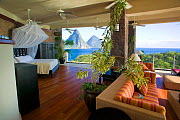 Luxury hotel room looking over the Pitons, Jade Mountain hotel, St Lucia, May 2007  -  Sue Flood