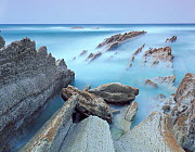 Rock formations on Atxabiribil beach, Basque country, Bay of Biscay, Spain, October 2008 - Wild Wonders of Europe / Popp-Ha
