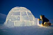 Inuit hunter entering Igloo at dusk. Northwest Greenland, 1998. - Bryan and Cherry Alexander
