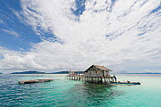 West Papuan house on stilts in coral reef shallows. Raja Ampat, West Papua, Indonesia, February 2010. - Jurgen Freund