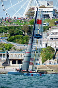 'China Team' passing the Hoe during fleet race on day five of the America's Cup World Series in Plymouth, England, September 2011. All non-editorial uses must be cleared individually. - Chris Schmid