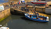Timelapse of tourists boarding a boat to take them to the Farne Islands, Seahouses Harbour, Northumberland, England, UK, July 2011  -  Rob  Jordan / 2020VISION