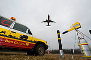 Tools to chase birds away from airport area at Budapest Airport, including sound cannon, Hungary, March 2009  -  Milan Radisics