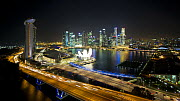 Timelapse of Singapore City Centre and Marina Bay, with descending camera, Singapore, 2011.  -  Gavin Hellier