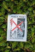 Anti-fracking protest, sign attached to hedge, Balcombe, West Sussex, England. 19th August 2013.  -  Adrian Davies