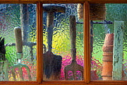View through  potting shed window with hand forks, string  and trowel on sill. - Ernie  Janes
