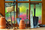 Potting shed window with flower pots,  hand forks, string  and trowel on sill. - Ernie  Janes