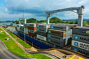Cargo ship passing through the Panama Canal, Panama City, Panama, Central America. July 2012. All non-editorial uses must be cleared individually.  -  Juan  Carlos Munoz