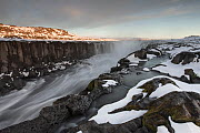 Selfoss waterfall in autumn with snow, north Iceland, September 2013. - Peter Cairns